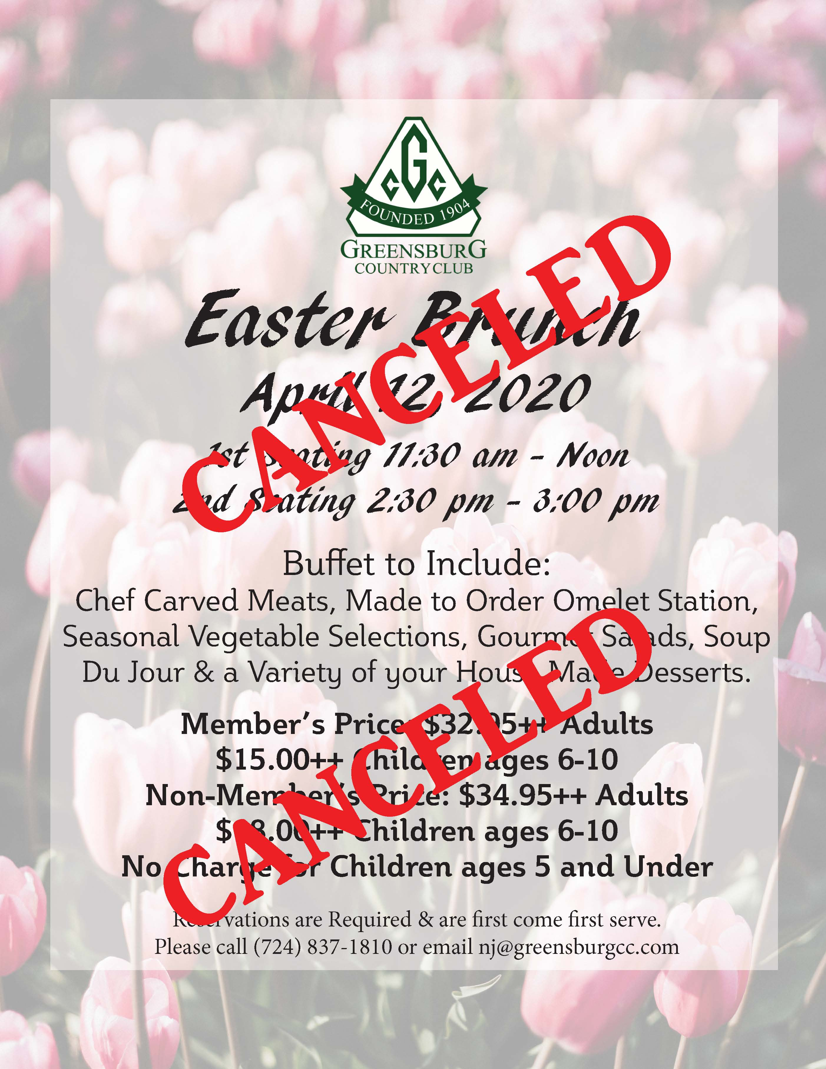 Easter Brunch flyer 2020 Canceled
